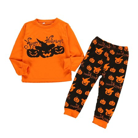 Halloween Toddler Kids Boys Girls Set Cute Pumpkin Long Sleeve T-Shirt +Long Pants Outfits Clothes - image 3 of 4