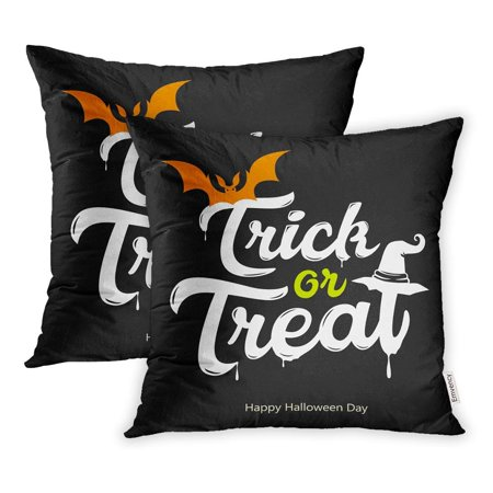 Halloween Day Celebration (ARHOME Black Trick Treat White Message Happy Halloween Day on Celebration Pillowcase Cushion Cover 18x18 inch, Set of)