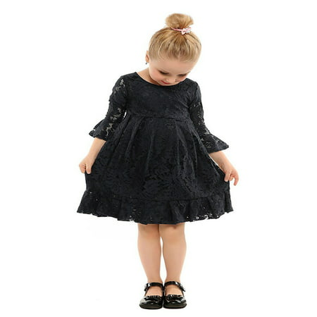 stylesilove Kids Girl Long Sleeve Cuffs Princess Lace Dress (150/8-9 Years, Black) - Black Girl Dresses