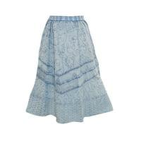 Mogul Womem's Flirty Skirt Blue Stonewashed Embroidered Rayon Peasant Skirts