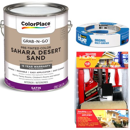 ColorPlace Grab-N-Go Sahara Desert Sand Interior Paint with ScotchBlue Painter;s Tape Original Multi-Use, .94in x 60yd(24mm x 54,8m Bundle