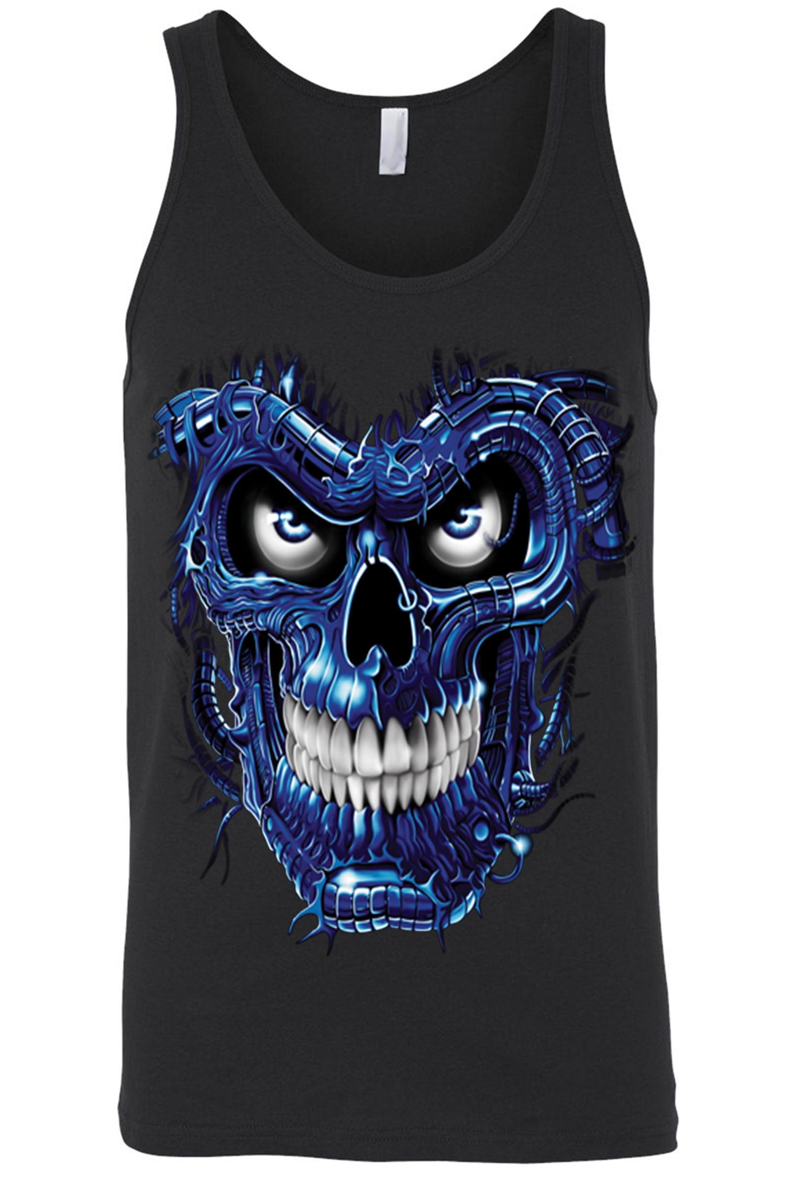 Men's Tank Top Shirt Robotic Skull