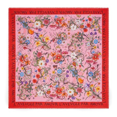 6806f969d1a Gucci - Gucci Women s Flora Snake Print Wool Silk Scarf Pink - Walmart.com