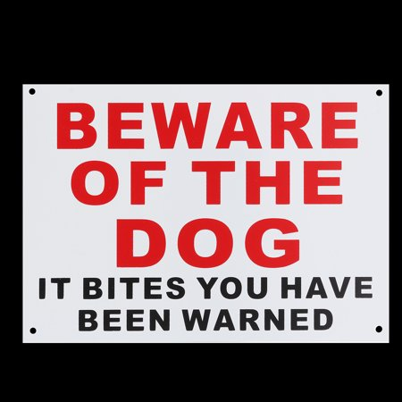 1/2x BEWARE OF THE DOG IT BITES YOU HAVE BEEN WARNED Warning Signs Sticker