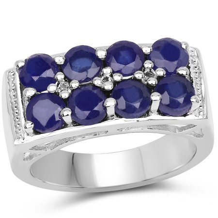 925 Sterling Silver Glass Filled Sapphire and White Topaz Ring (2.87 Carat) Multiple Sizes