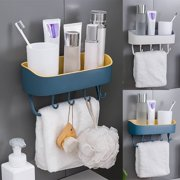 Bathroom Kitchen Shelf Shower Storage Basket with Hooks-Wall Mounted Rack- No Drilling with Self-adhesive Glue