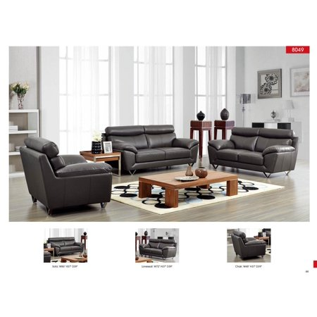Phenomenal Esf 8049 Modern Dark Grey Leather Living Room Sofa Loveseat Chair Set 3Pcs Alphanode Cool Chair Designs And Ideas Alphanodeonline