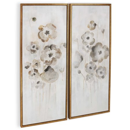"Gild Design House ""Cold Frame (Set/2)"" Hand Painted Floral Wall Art on Canvas - 22"" x 2"" x 52"" ea"