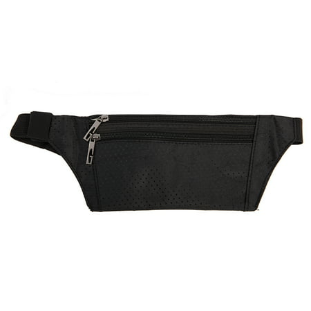 LELINTA Unisex Waist Pack Bag Ultrathin Hide Purse Outdoor Sports Jogging Travel Runner Belt, Black/ Rose Red/ Green