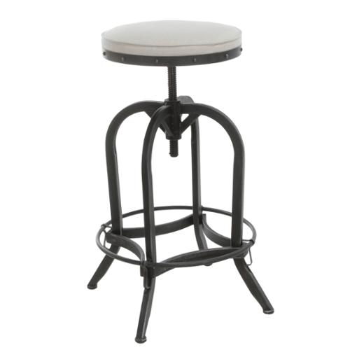 Denise Austin Home Brixton Industrial Design Adjustable Swivel Iron Bar Stool in Beige Linen  sc 1 st  Walmart : industrial adjustable stool - islam-shia.org
