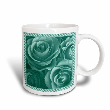 3dRose Close up scene of dreamy muted teal green roses surrounded by a striped frame, Ceramic Mug, 15-ounce