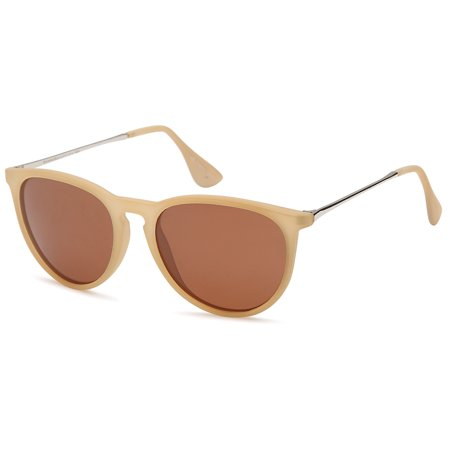 GAMMA RAY Polarized UV400 Vintage Retro Round Thin Style Sunglasses - Brown Lens on Matte Beige -