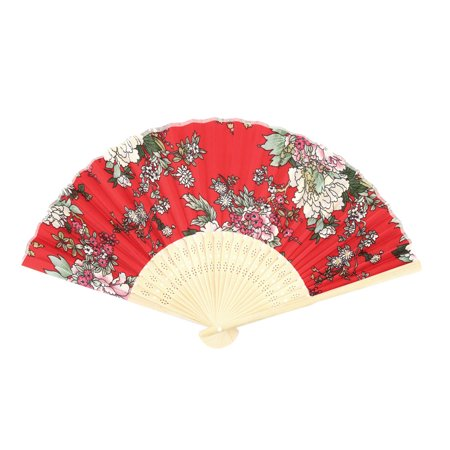 Womens Pennies - Women Party Bamboo Frame Peony Pattern Handheld Cooling Folding Fan Multicolor