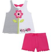 Kids Headquarters Baby Girls Floral Stripe Top & Shorts Set