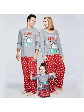 Family Matching Christmas Pajamas Set Women Men Baby Kids Boy Girl Deer Sleepwear Nightwear CottonT-Shirt Pants