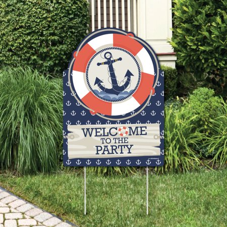Ahoy - Nautical - Party Decorations - Birthday Party or Baby Shower Welcome Yard Sign (Ahoy Baby Shower Decorations)