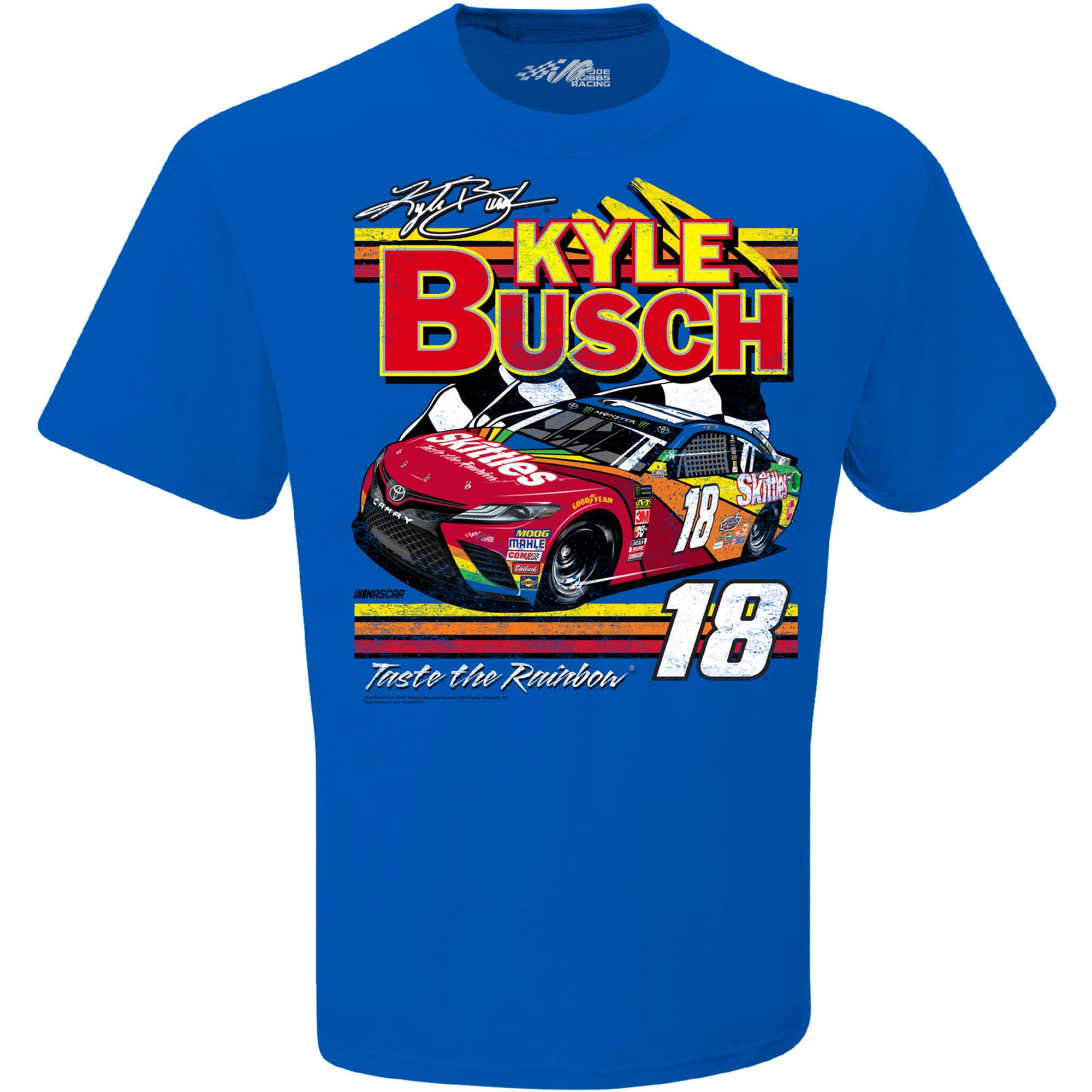 Kyle Busch Joe Gibbs Racing Team Collection Skittles Darlington Car T-Shirt - Royal