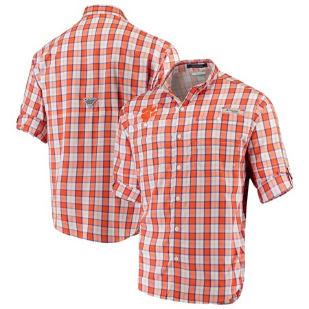 Clemson Tigers Columbia Plaid Omni-Shade Collegiate Super Tamiami Button-Down Long Sleeve Shirt - Orange
