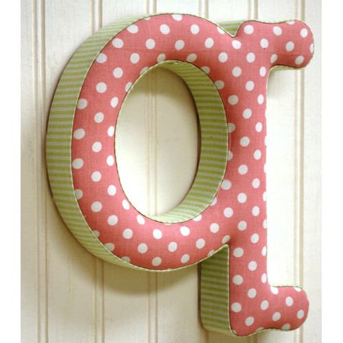 New Arrivals ''q'' Fabric Letter in Pink / Green