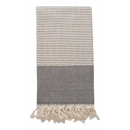 Weaver Diamond - Diamond Weave Turkish Towel Peshtemal for Bath or Beach - THIN and Lightweight - Made from 100% Turkish Cotton (Black and Cream)