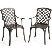 Costway Outdoor Cast Aluminum Arm Dining Chairs Set of 2 Patio Bistro Chairs