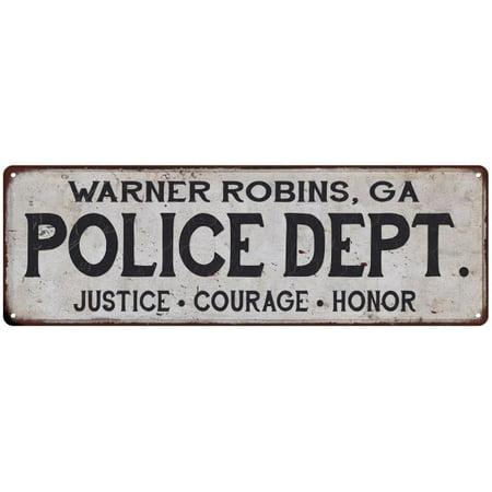 Warner Robins Ga Police Dept Home Decor Metal Sign Gift 6x18 206180012461