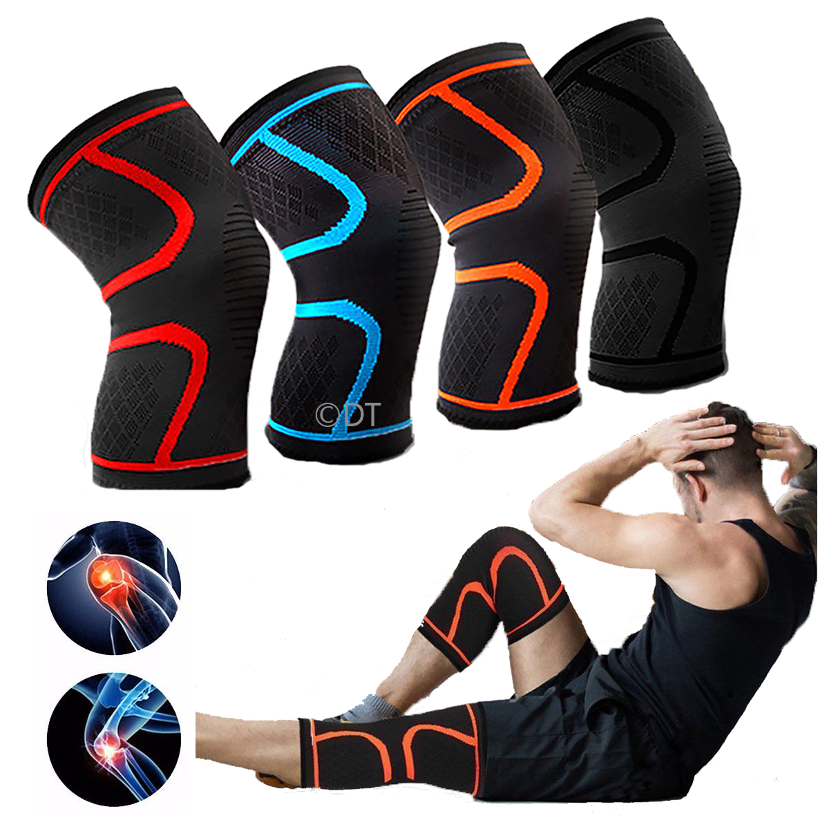 Knee Sleeve Compression Brace Support For Sport Joint Pain Arthritis Relief (Orange, Medium)