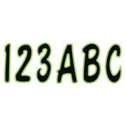 HARDLINE PRODUCTS GBLKKI200 Number and Letter Combo Kit,Black/Green
