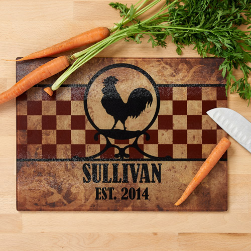 Personalized Rooster Glass Cutting Board