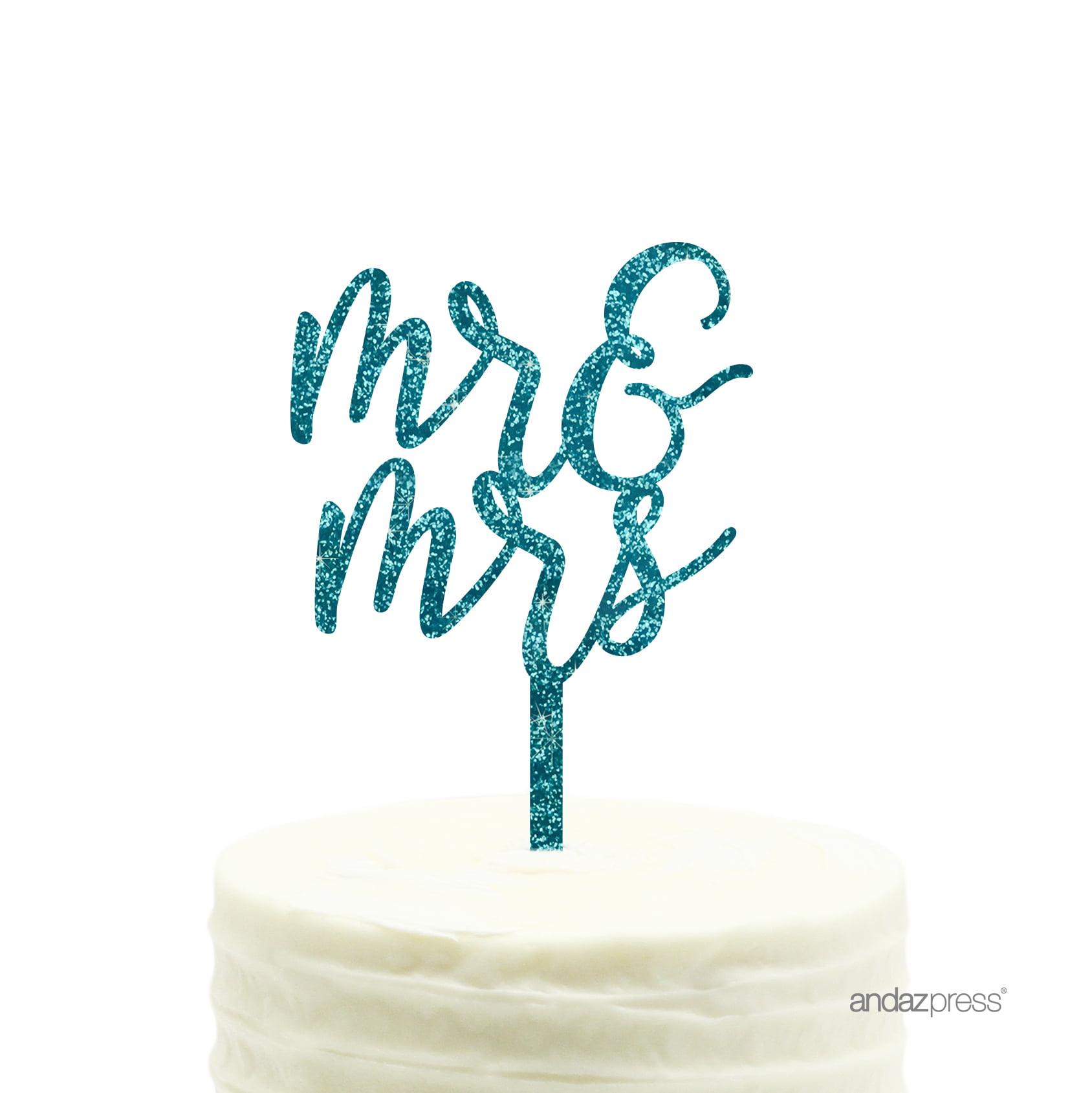 Aqua Blue Glitter Mr. & Mrs. Acrylic Wedding Cake Topper