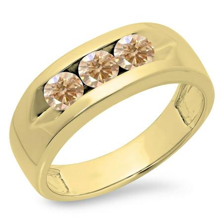 1.10 Carat (ctw) 18K Yellow Gold Real Round Champagne Diamond Men's Channel Set 3 Stone Anniversary Wedding Band 1 CT