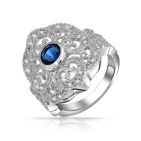 Vintage Style Blue CZ Filigree Wide Heart Motif Armor Cubic Zirconia Full Finger Cocktail Ring Silver Plated Brass