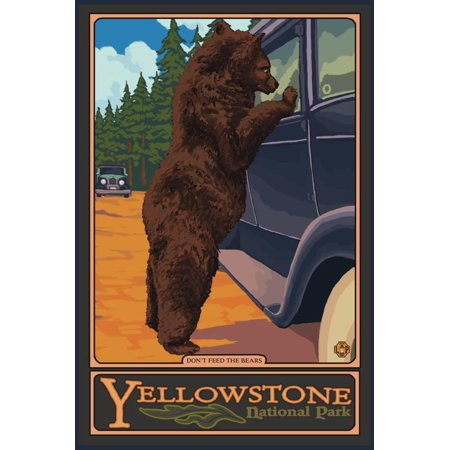 Don't Feed the Bears, Yellowstone National Park, Wyoming Travel Advertisement Print Wall Art By Lantern - Wyoming Bear