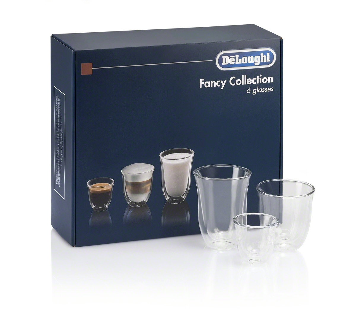 De'Longhi Trio Gift Set 2 Espresso, 2 Cappuccino, 2 Latte Double Wall Thermal Glasses