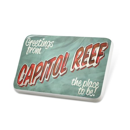 Porcelein Pin Greetings from Capitol Reef, Vintage Postcard Lapel Badge – (Capitol Card)