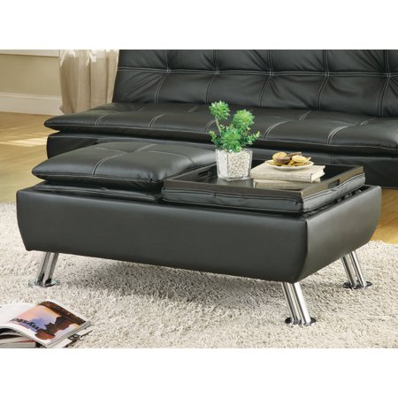 Coaster Contemporary Style Storage Ottoman with Removable Trays