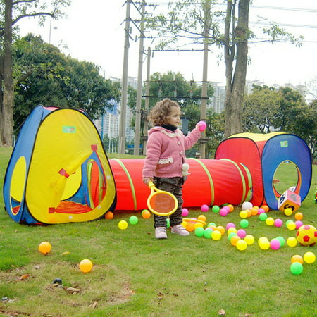 3 in 1 Play Tent Tunnel Set Children Baby Play House Ball Pit Indoor Outdoor Toy Tent Toddlers Kids Colorful Toy Gift
