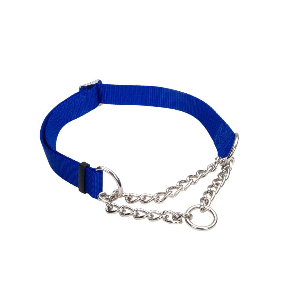 Coastal Nylon and Chain Check-Choke Martingale Collar Three Quarter x 14-20 BLUE