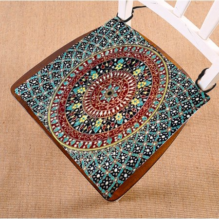PHFZK Geometry Trellis Chair Pad, Mandala Hippie Seat Cushion Chair Cushion Floor Cushion Two Sides Size 16x16 inches