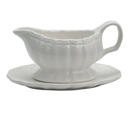 Gibson Home Ca Posh 15 oz. Gravy Boat With Saucer in