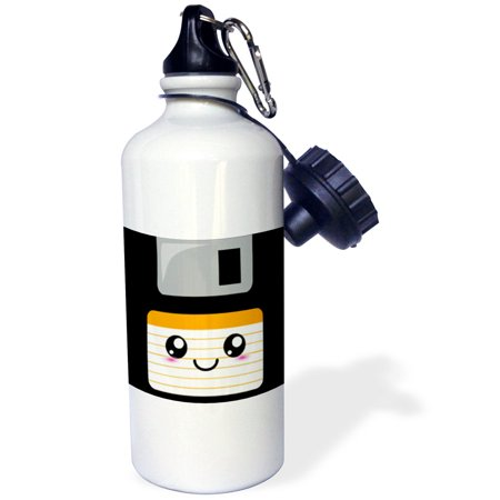 3dRose Kawaii Cute Happy Floppy Disk - Retro computers - Japanese Anime Smiling cartoon with orange label, Sports Water Bottle, 21oz