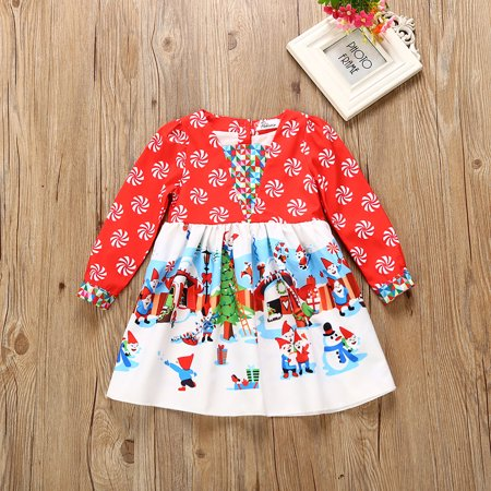 Baby Girls Xmas Dress Toddler Baby Girl Santa Snowflake Snowman Long Sleeve Christmas Party Dresses](Kids Santa Dress)