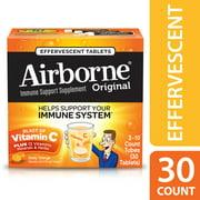 (2 pack) Airborne Vitamin C Tablets, Zesty Orange, 1000mg - 30 Effervescent Tablets