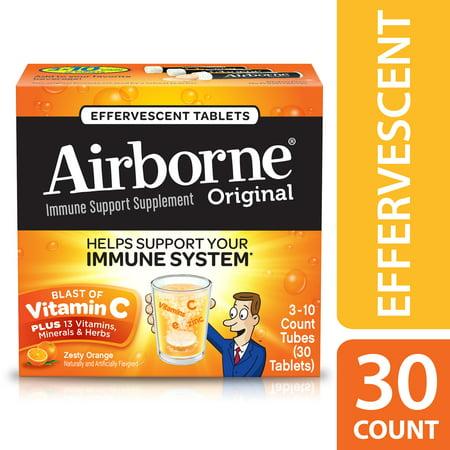 Airborne Vitamin C Tablets, Zesty Orange, 1000mg - 30 Effervescent Tablets
