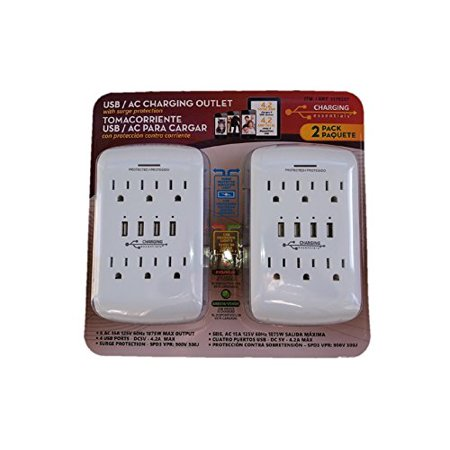 - USB/AC Charging Outlet with Surge Protection by Charging Essentials White 2 Pack