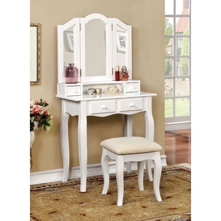 Simple Relax 1perfectchoice Janelle Bedroom Vanity Makeup Table Set Bench Tri Fold Mirror Hutch Drawer