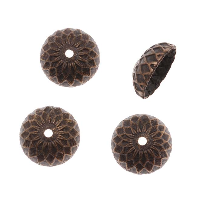 Vintaj Natural Brass 13mm Acorn Bead Caps (4)