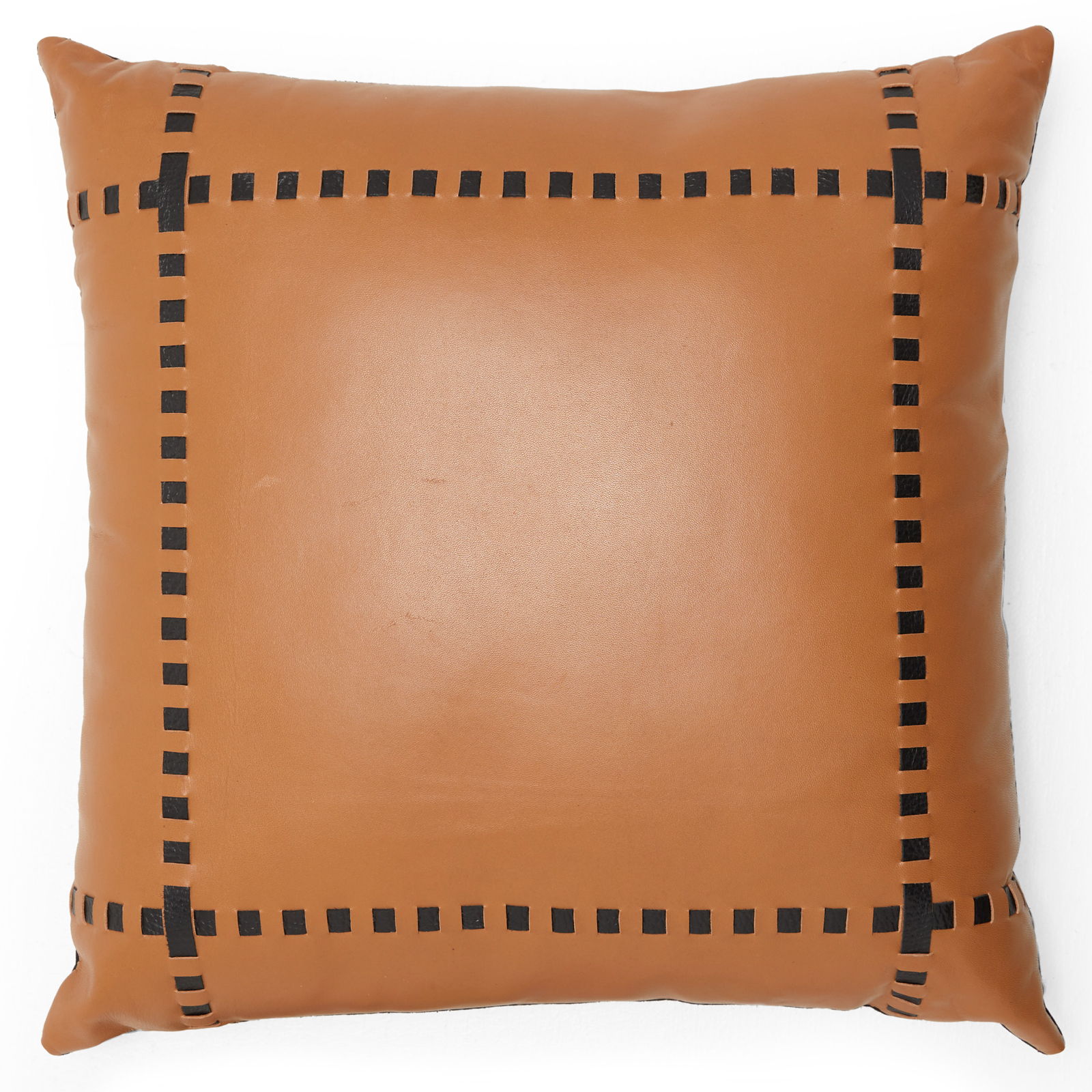 "MoDRN Industrial Cow Leather Decorative Throw Pillow, 16"" x 16"""