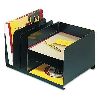 Horizontal Combo Organizer - Vertical/Horizontal Combo Organizer, Six Sections, Steel, 15 x 11 x 8 1/8, Black