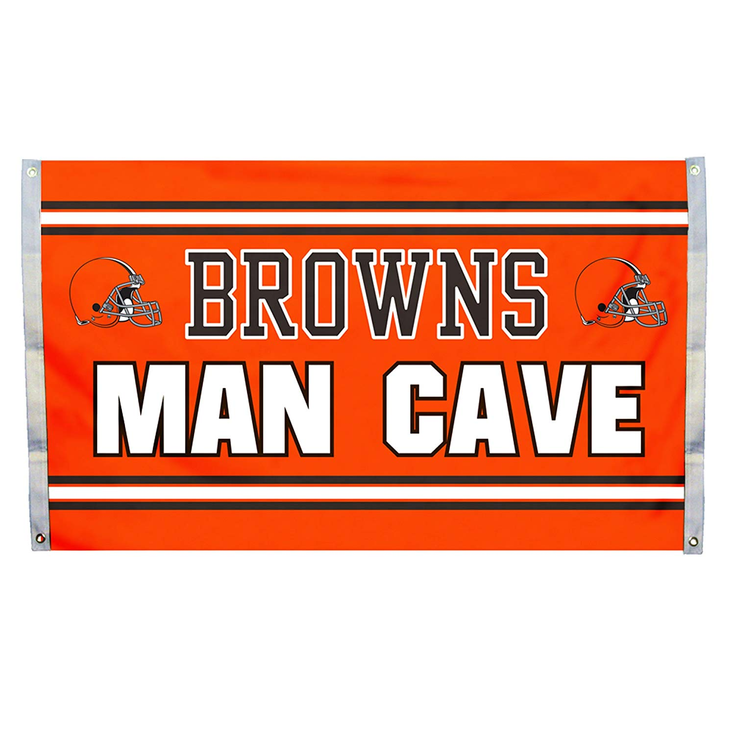 NFL Cleveland Browns Man Cave 3 x 5 Flag with 4 Grommets, Team Color,, 100% Polyester By Fremont Die